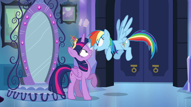 "File:Twilight and Rainbow Dash ""you're back!"" EG.png"