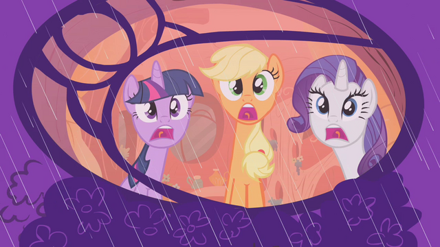 File:Rarity, Twilight, and Applejack afraid of the rain S1E8.png