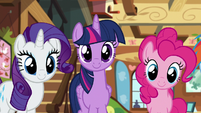 Rarity, Twilight, and Pinkie listen to Fluttershy S7E5