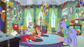 Scootaloo, Bow, and Windy in Rainbow's trophy room S7E7.png