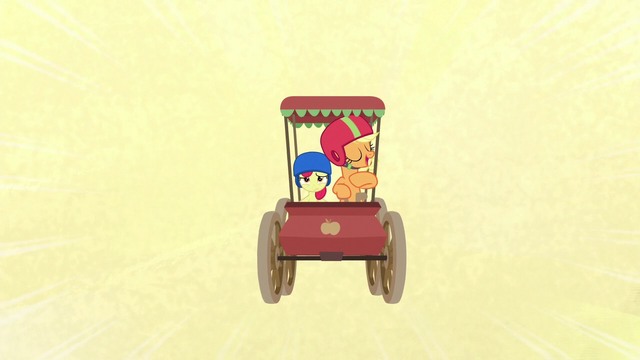 File:Applejack in her old-fashioned cart S6E14.png