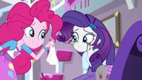Pinkie Pie offering Rarity a tissue EGS1