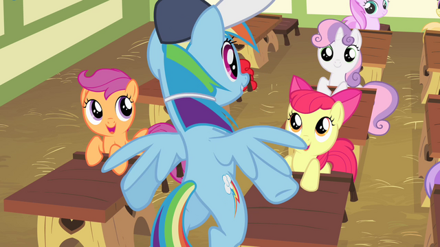 File:Fillies in awe of Rainbow Dash S4E05.png