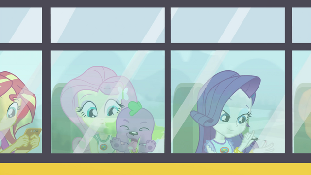 File:Fluttershy, Spike, and Rarity riding the CHS bus EG4.png
