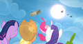Pinkie Pie throws the care package into the air S3E7.png