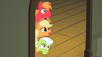 Big McIntosh, Applejack and Granny Smith peering through the doorway S2E06