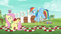 Fluttershy runs course as Rainbow shouts at her S6E18