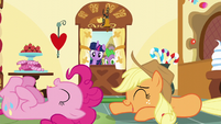 Twilight and Spike see Applejack and Pinkie laughing S5E22