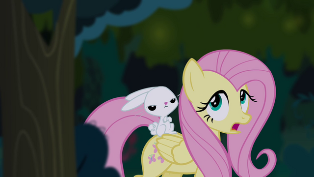 File:Fluttershy and Angel in Everfree Forest S4E03.png