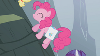 Pinkie Pie climbing the mountain S1E07