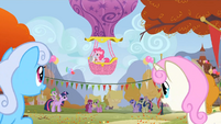 Pinkie Pie is the official eye in the sky announcer S1E13