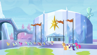 Twilight's friends outside the stadium S4E24
