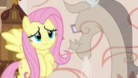 Fluttershy looks worried at Discord S7E12