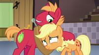 Big McIntosh hugging young Applejack S6E23