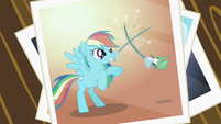 Picture of Rainbow Dash and the hummingbird fencing S2E07