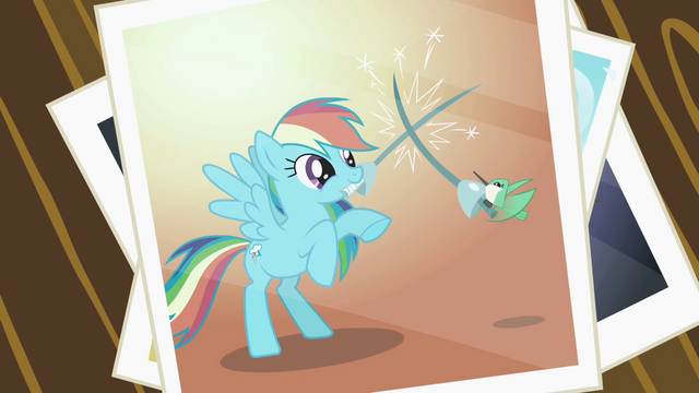 File:Picture of Rainbow Dash and the hummingbird fencing S2E07.png