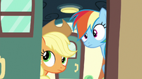 Applejack and Rainbow open the train car door S6E18