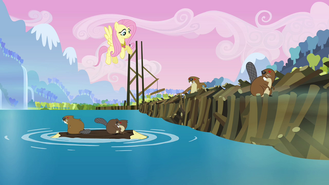 File:Fluttershy talking to mesmerized beavers S03E10.png