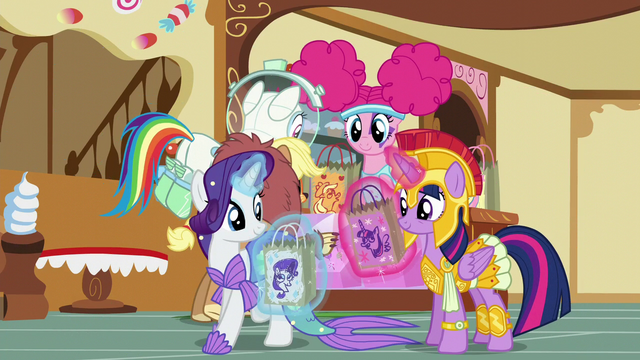 File:Twilight and friends taking candy bags S5E21.png