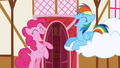 Pinkie and Rainbow Dash laughing at Spike S1E05.png