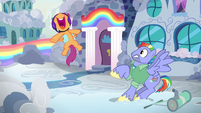 "Scootaloo squealing ""Rainbow Dash's dad!"" S7E7"