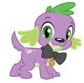 Equestria Girls Spike dog wearing bow tie with tag.png