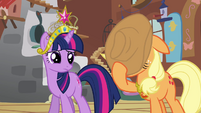"Applejack covers face ""I can't watch"" S03E10"