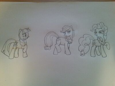 FANMADE Drawing of Applejack Pinkie Pie and Twilight Sparkle