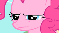 Pinkie Pie glaring at Applejack S01E25
