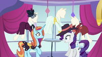 Rarity and Sassy surprised by door opening S5E15