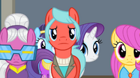 Rarity walking behind some ponies S4E08