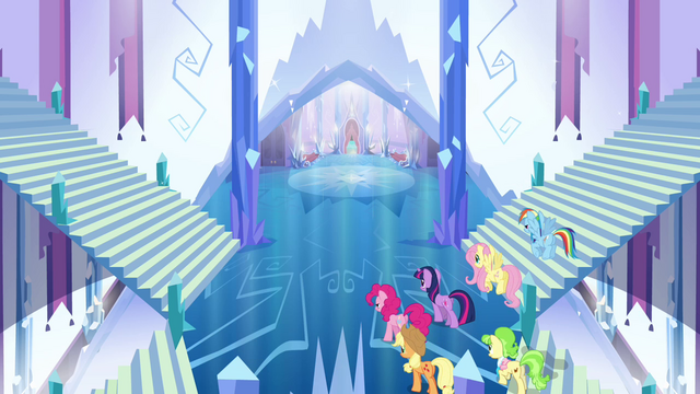 File:Main ponies and Peachbottom enter the castle S03E12.png