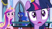 Twilight, Luna, and Cadance gasp in shock S4E25