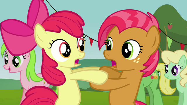 File:Apple Bloom and Babs 'It felt like forever!' S3E08.png