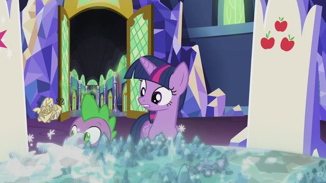 File:Crumpled scroll bounces past Twilight and Spike S5E25.png