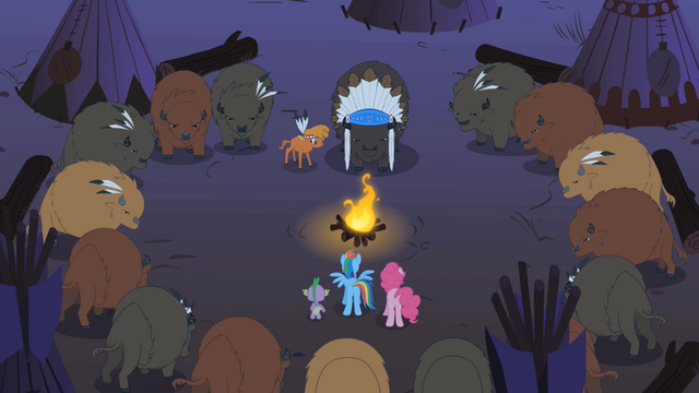 File:Rainbow Dash, Pinkie Pie, and Spike meeting Buffalo tribe and LSH S1E21.png