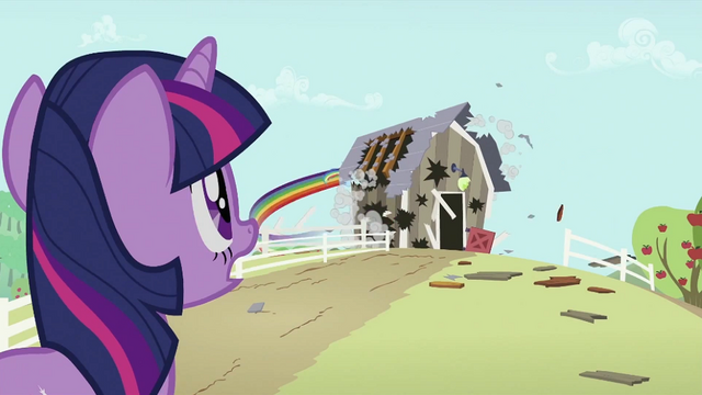 File:Twilight Sparkle sees Rainbow Dash destroying barn S2E03.png