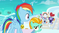 Filly Rainbow Dash hears her parents cheering S7E7.png