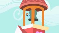 Rainbow Dash hiding behind the bell S1E25