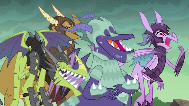 File:Dragons laughing at Spike S6E5.png