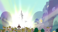 Castle towers over Ponyville S4E26