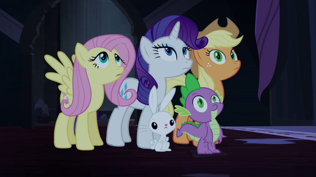 File:Ponies and Spike blank stare S4E03.png