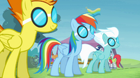 Rainbow and the Wonderbolts with goggles S4E10