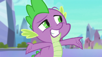 Spike grinning and wiggling his eyebrow S6E16