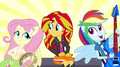 Dash and Fluttershy sing next to Sunset EG2.png