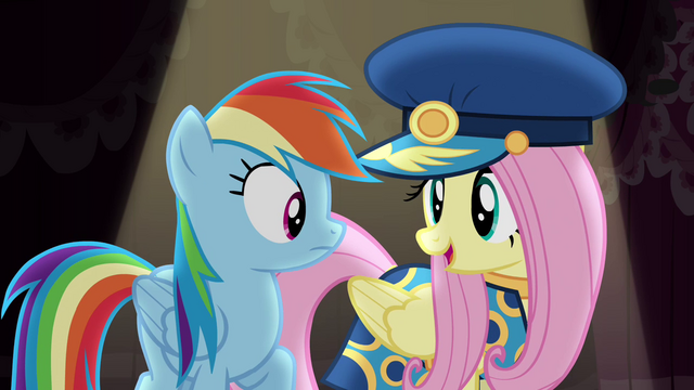 File:Fluttershy dressing as Admiral Fairy Flight S4E21.png