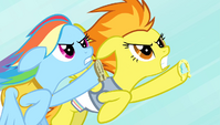 Rainbow Dash and Spitfire neck and neck S4E24