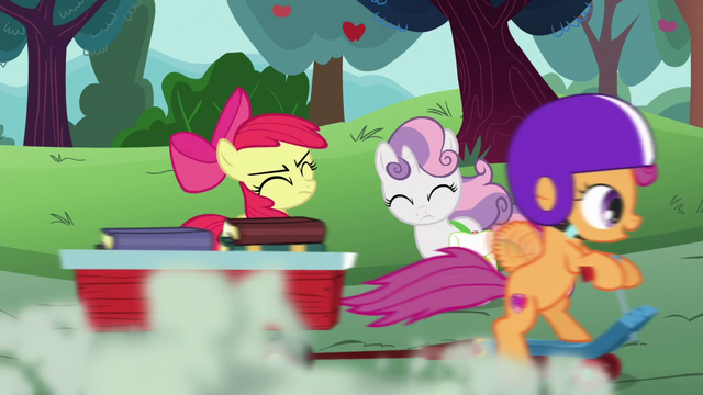 File:Scootaloo speeds past Apple Bloom and Sweetie Belle S6E14.png