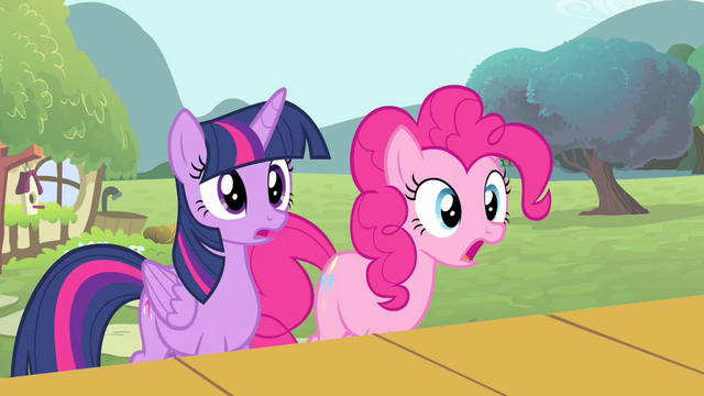 File:Twilight and Pinkie Pie surprised S4E14.png
