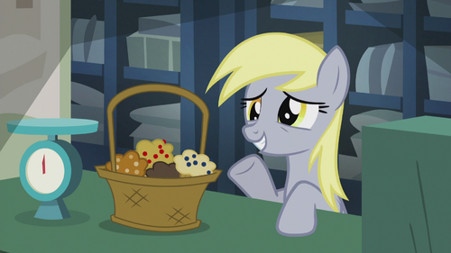 Derpy with a basket of muffins S5E9.png